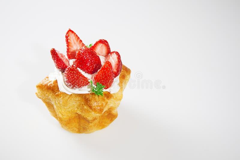Strawberry cake on white background stock photos
