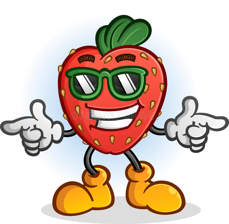 Strawberry Cartoon Character with Attitude Wearing Sunglasses royalty free illustration
