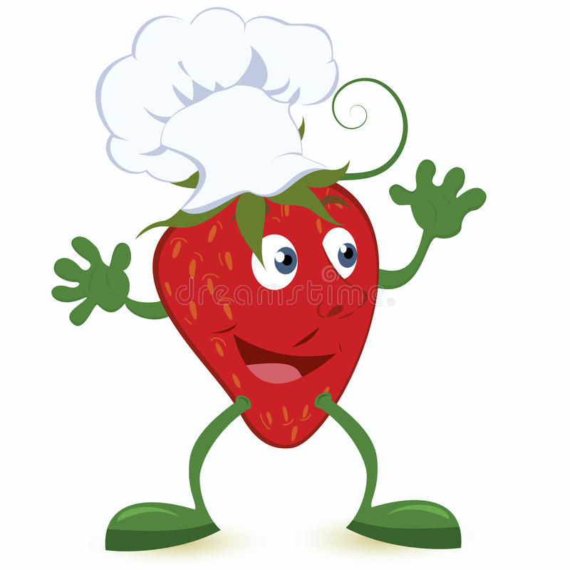 Strawberry-cartoon-character-in-chef-hat Royalty Free Stock Image