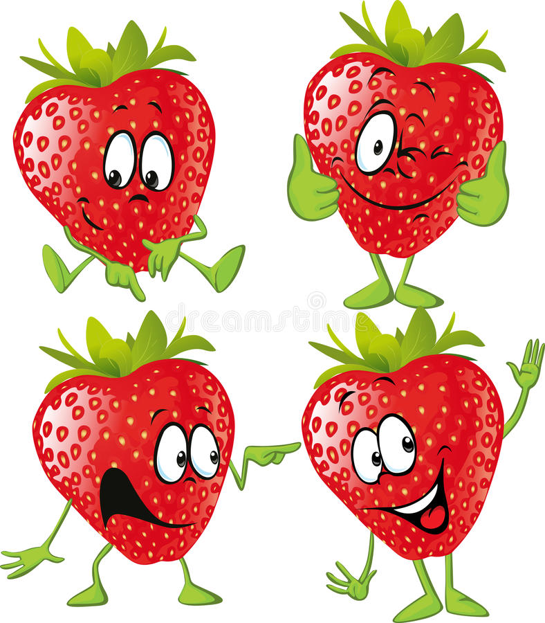Strawberry cartoon with hands isolated stock illustration