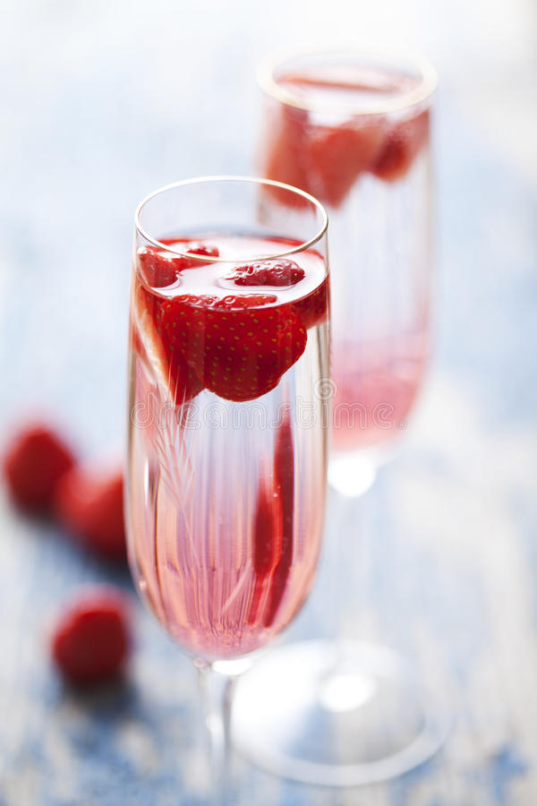 Strawberry champagne cocktail royalty free stock photo