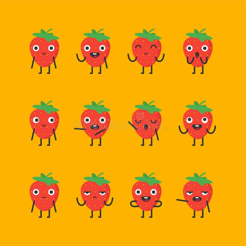 Strawberry character set different options and emotions vector illustration