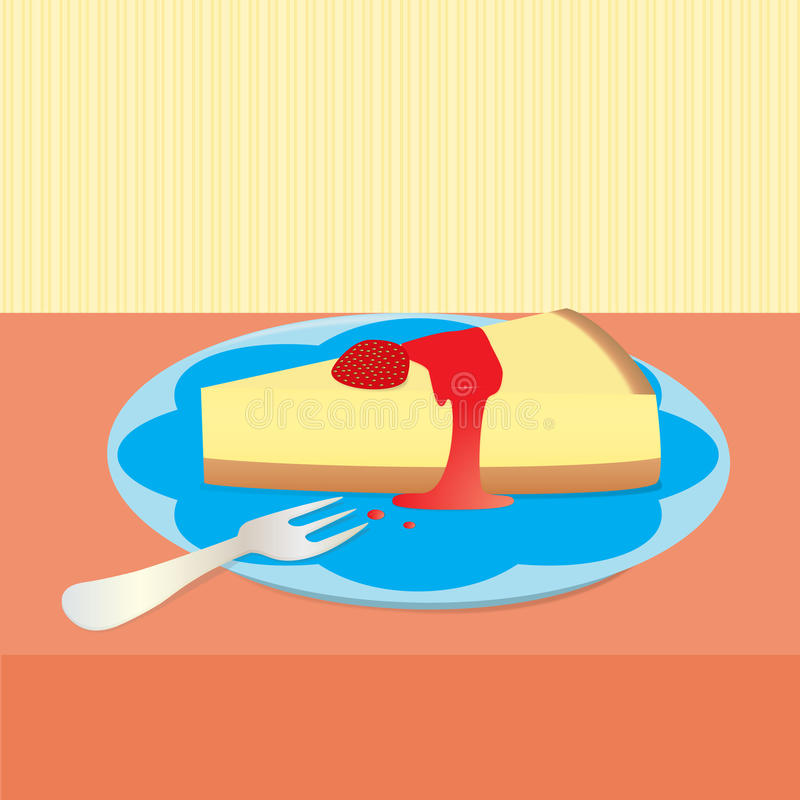 Strawberry Cheesecake Illustration. Illustration of a slice of strawberry cheesecake and a dessert fork on a table royalty free illustration