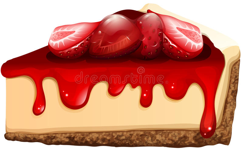 Strawberry cheesecake with jam. Illustration stock illustration