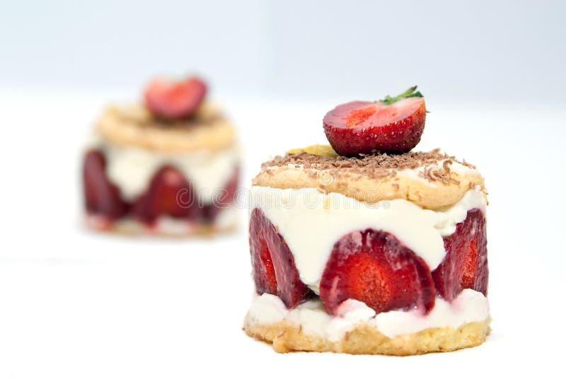 Strawberry cheesecake with mascarpone cream stock image
