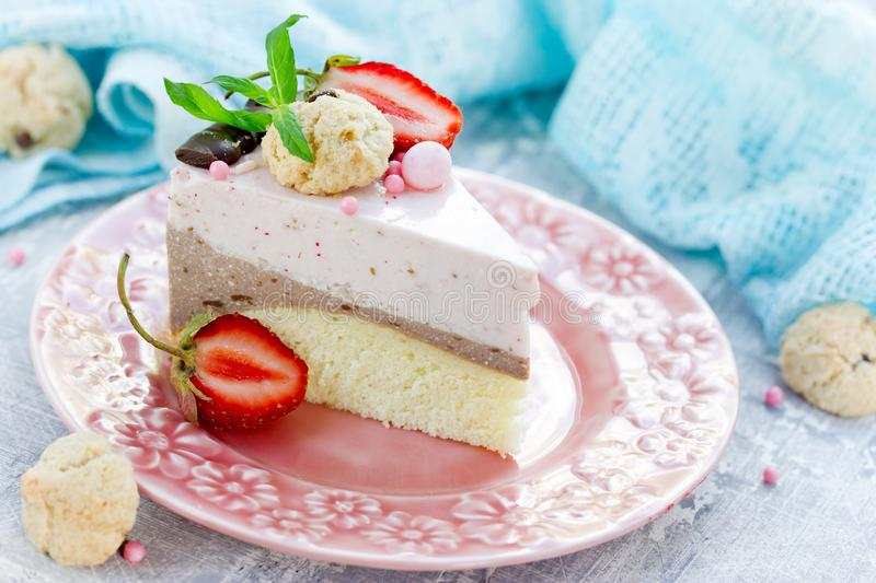 Strawberry chocolate cake - dietary cheesecake without baking stock photos