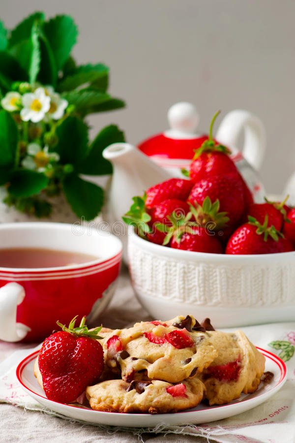 Strawberry Chocolate Chip Cookies Stock Image Image Of