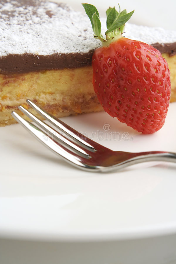 Strawberry and Chocolate dessert with fork; tall macro
