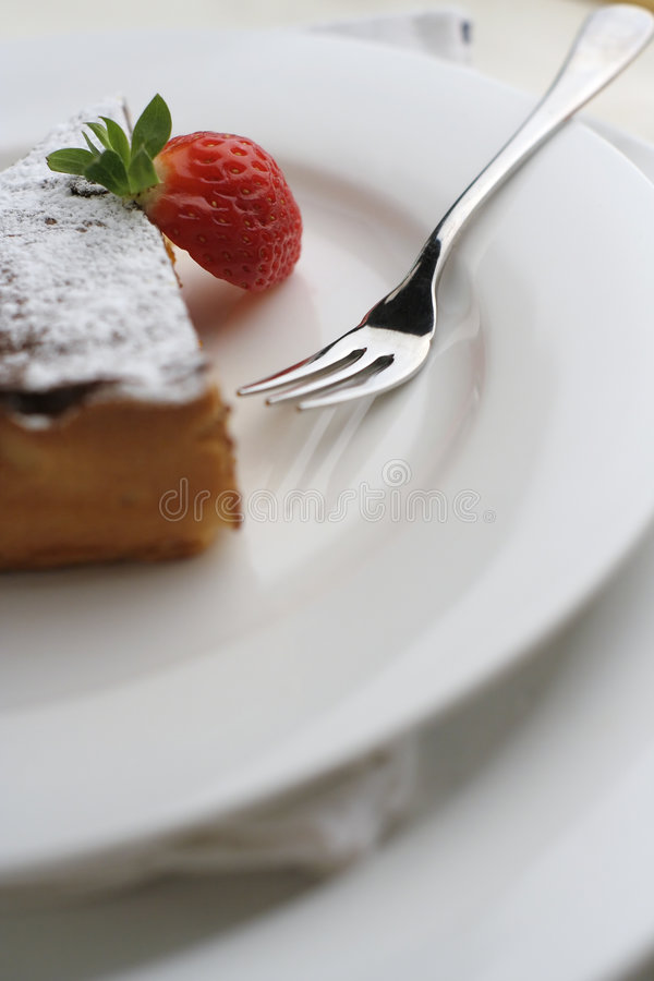 Download Strawberry And Chocolate Dessert With Fork; Tall Macro View Stock Photo - Image: 1272316