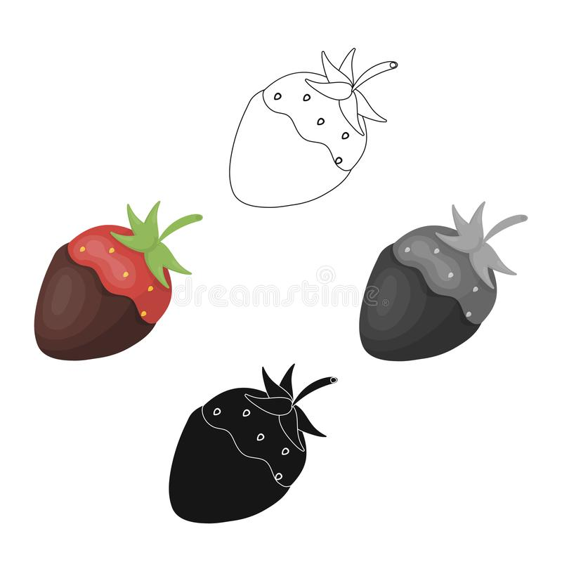 Strawberry in chocolate icon in cartoon style isolated on white background. Chocolate desserts symbol stock vector. Strawberry in chocolate icon in cartoon vector illustration