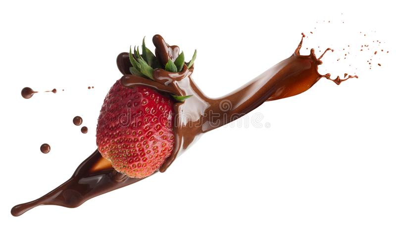 Strawberry in chocolate splash isolated on a white background.  stock photos