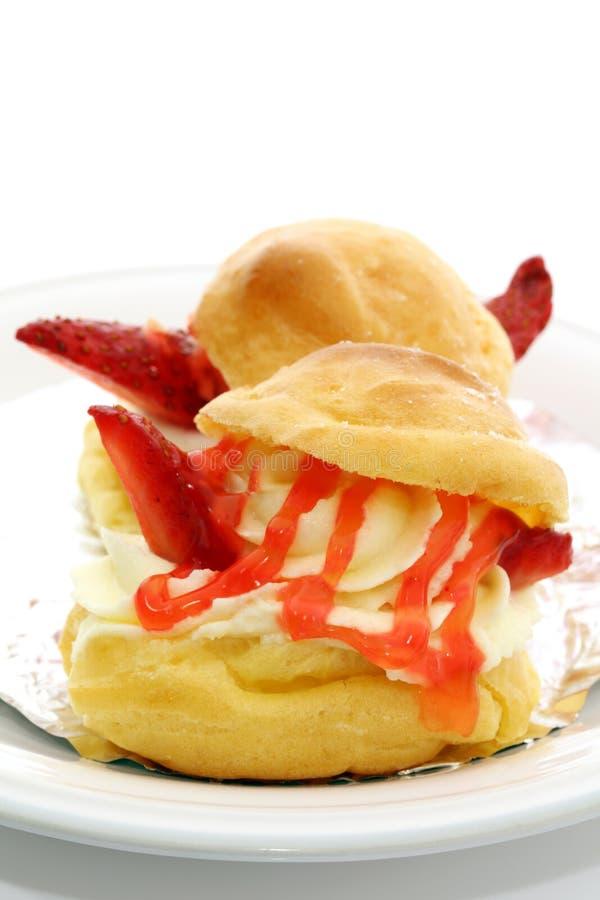 Strawberry Chou Cream stock photography