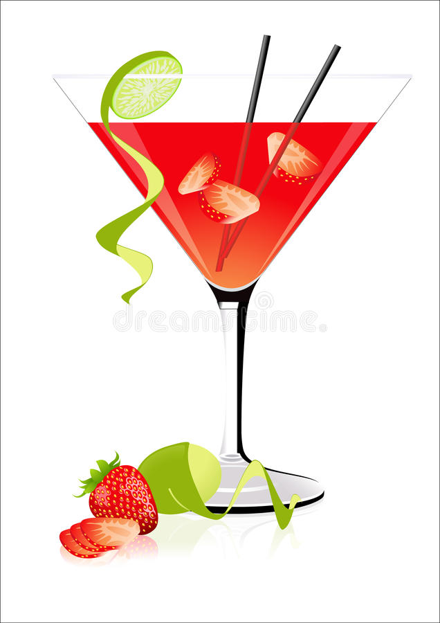 Download Strawberry cocktail stock vector. Illustration of lime - 12637359