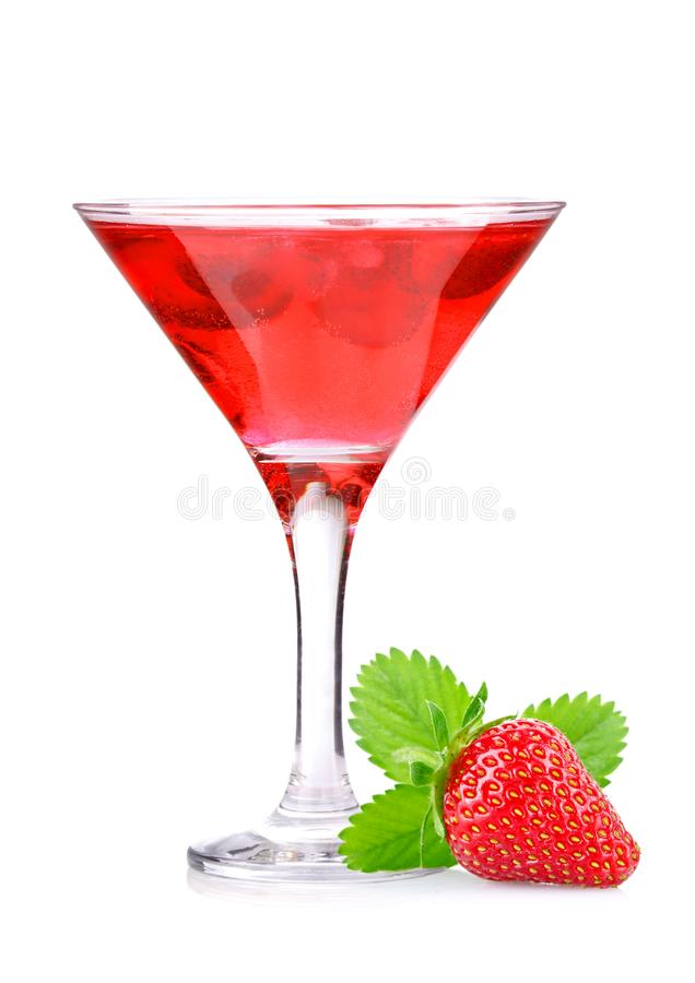 Strawberry cocktail with berry in glass royalty free stock photo