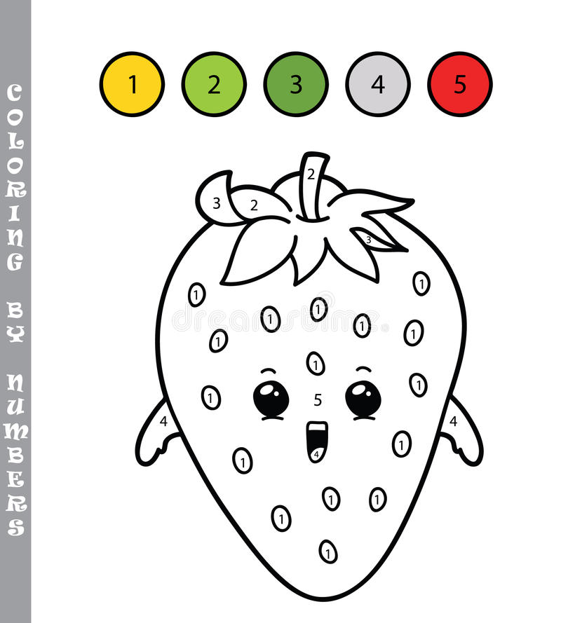 strawberry coloring page numbers illustration kids cute cartoon strawberry coloring page numbers