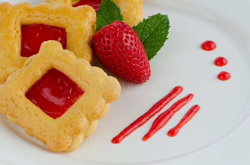 Strawberry cookies royalty free stock photography