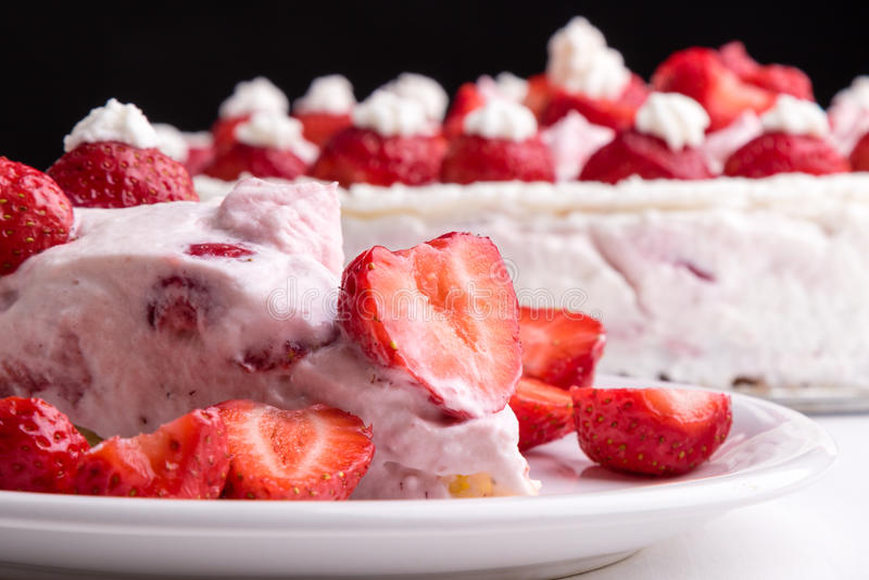 Strawberry cream cake. Homemade fresh strawberry cake with whipped cream stock images