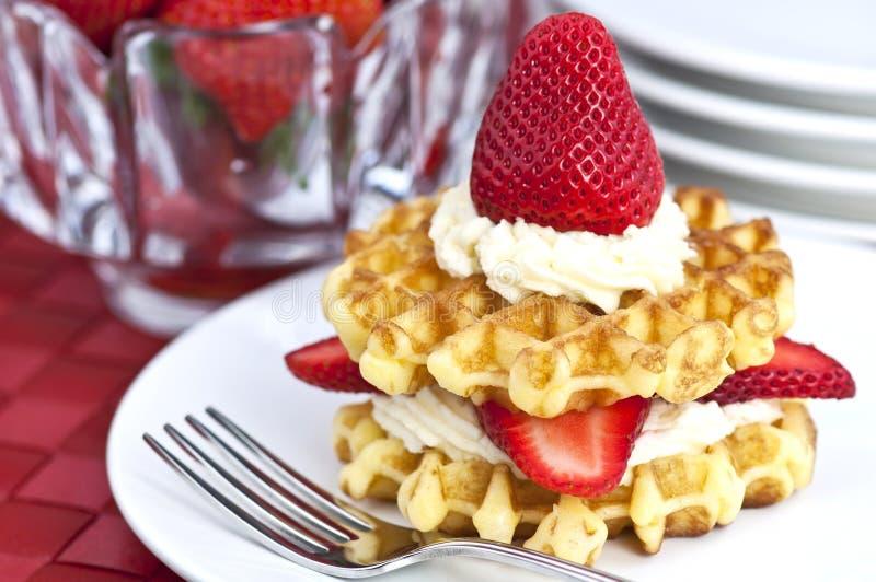 Strawberry and cream waffles stock photos