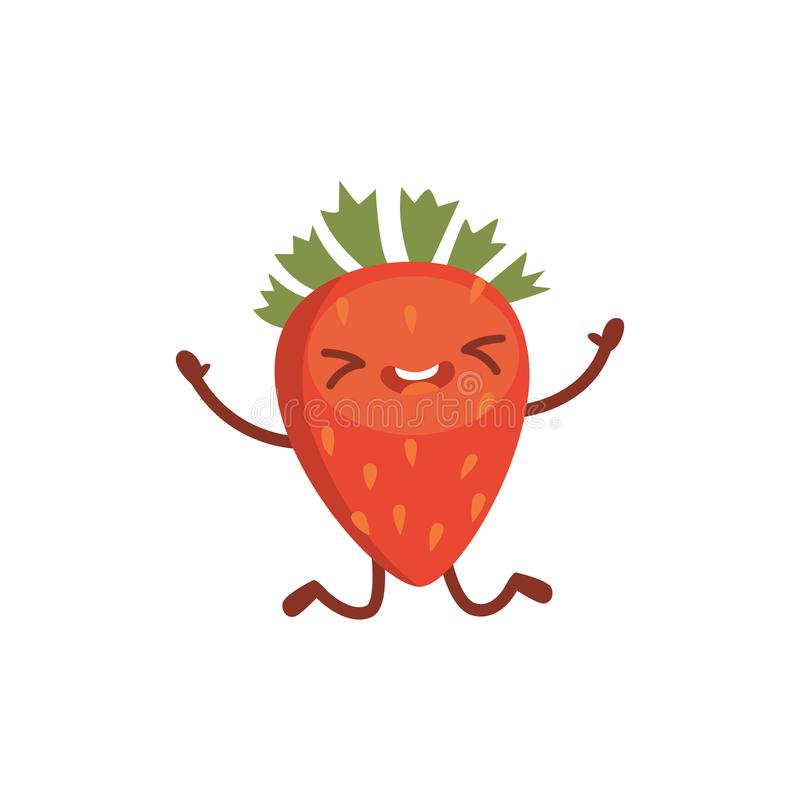 Strawberry cute cartoon fruit. Vector illustration with funny character. royalty free illustration