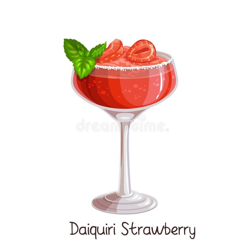 Strawberry daiquiri cocktai vector illustration