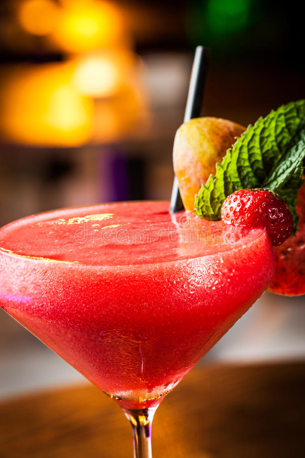 Strawberry daiquiri. Great strawberry daiquiri in a night club royalty free stock images