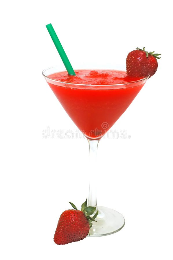 Strawberry Daiquiri with Strawberries and Straw royalty free stock photo