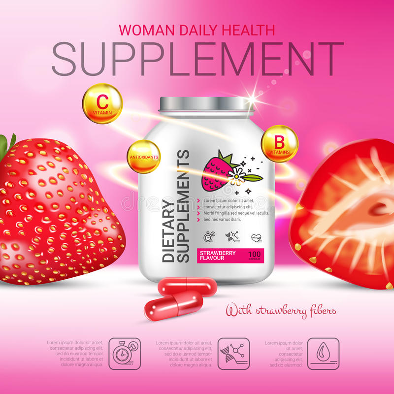 Strawberry dietary supplement ads. Vector Illustration with supplement contained in bottle and strawberry elements. Poster vector illustration