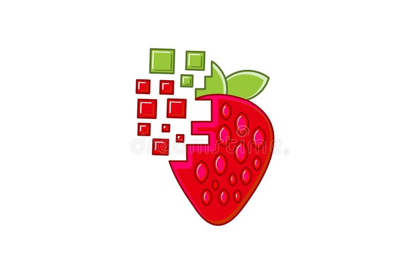 Strawberry digital logo Designs Inspiration Isolated on White Background. stock illustration