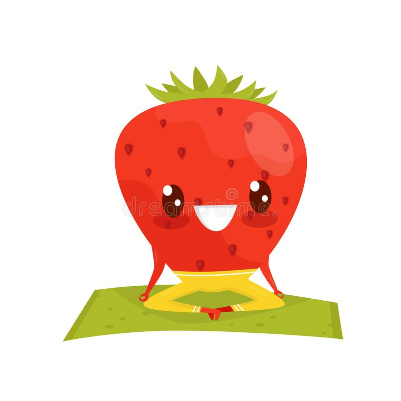 Strawberry doing yoga exercise, funny sportive berry cartoon character vector Illustration on a white background. Strawberry doing yoga exercise, funny sportive royalty free illustration