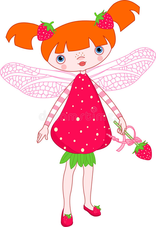 Strawberry fairy. Illustration of Cute strawberry fairy stock illustration