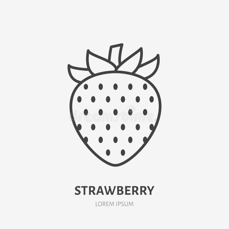 Strawberry flat line icon, sweet berry sign, healthy food logo. Illustration for natiral food store.  royalty free illustration