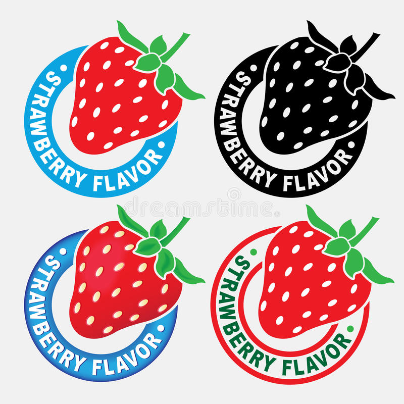 Strawberry Flavor Seal / Mark. Strawberry Flavor Seal in four variations royalty free illustration