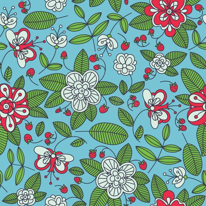 Strawberry floral seamless pattern background stock illustration