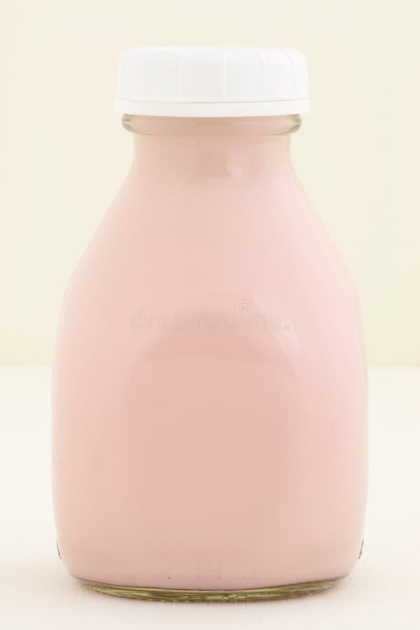 Strawberry fresh milk pint stock image