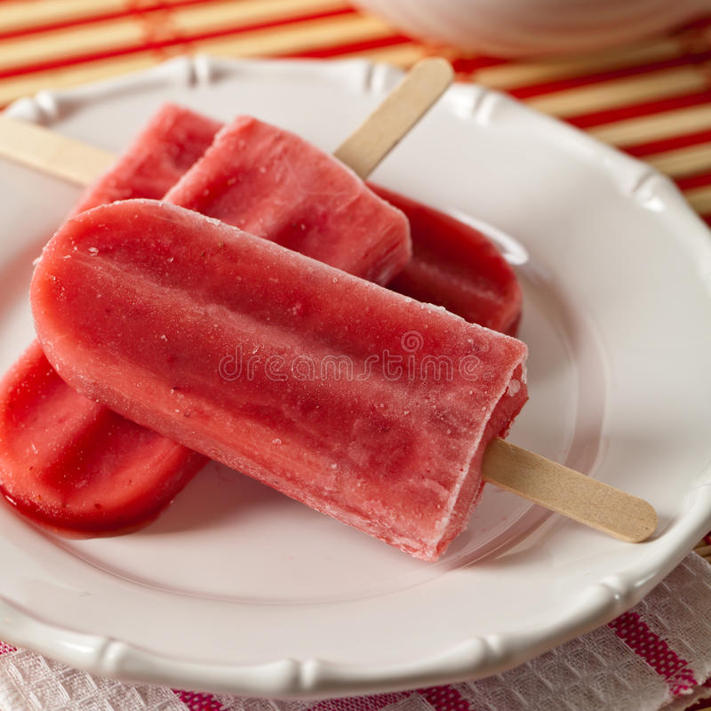 Strawberry Fruit Bars. Frozen Strawberry Fruit Bars. Selective focus stock photo
