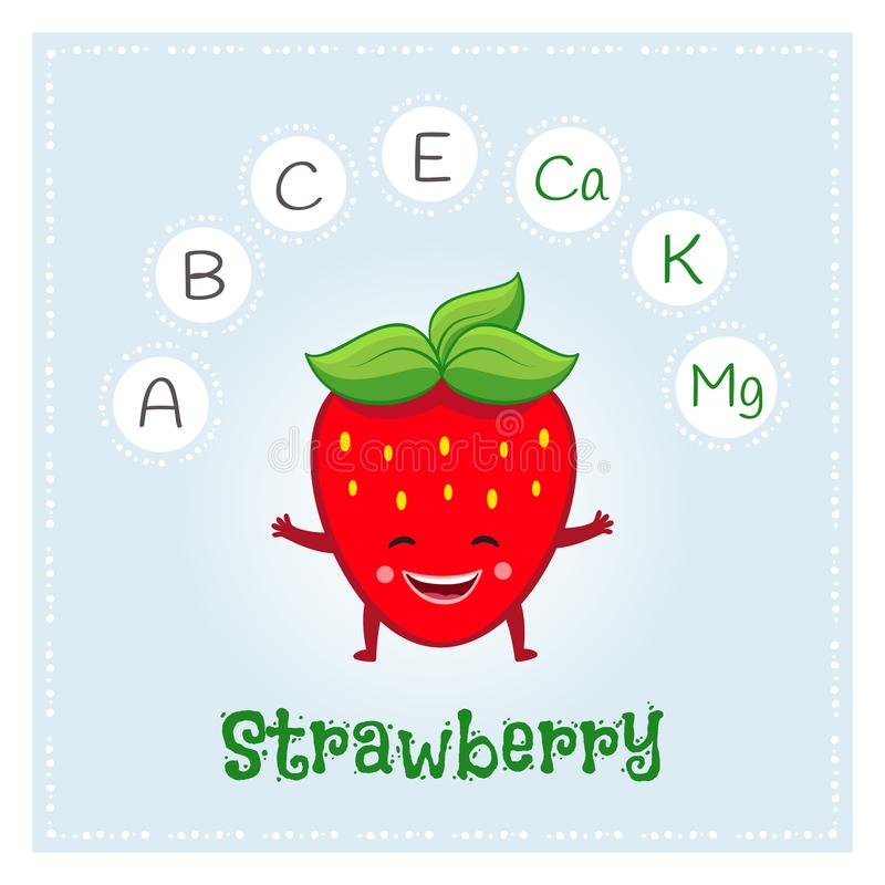 Strawberry fruit vitamins and minerals. Funny fruit character. Healthy food illustration stock illustration