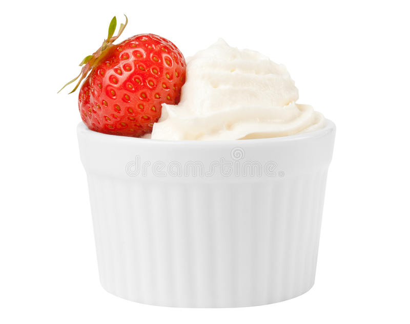 Strawberry fruit and whip cream stock images