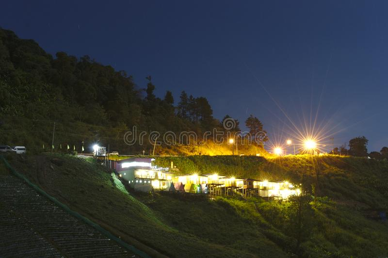 Strawberry garden farm, Night shoot long exposure with night light and blue sky at Phu Tubberk, Thailand. royalty free stock image