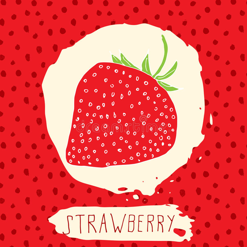 Strawberry hand drawn sketched fruit with leaf on red background with dots pattern. Doodle vector strawberry for logo, label, bra stock illustration