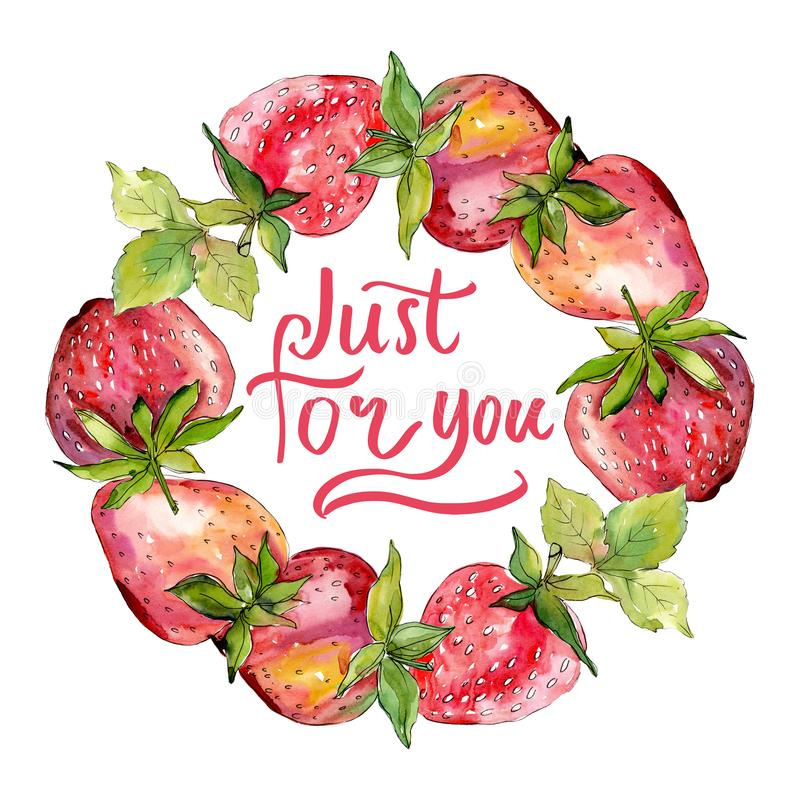 Strawberry healthy food fresh berry. Watercolor background illustration set. Frame border ornament square. Strawberry healthy food fresh berry. Watercolor stock photos