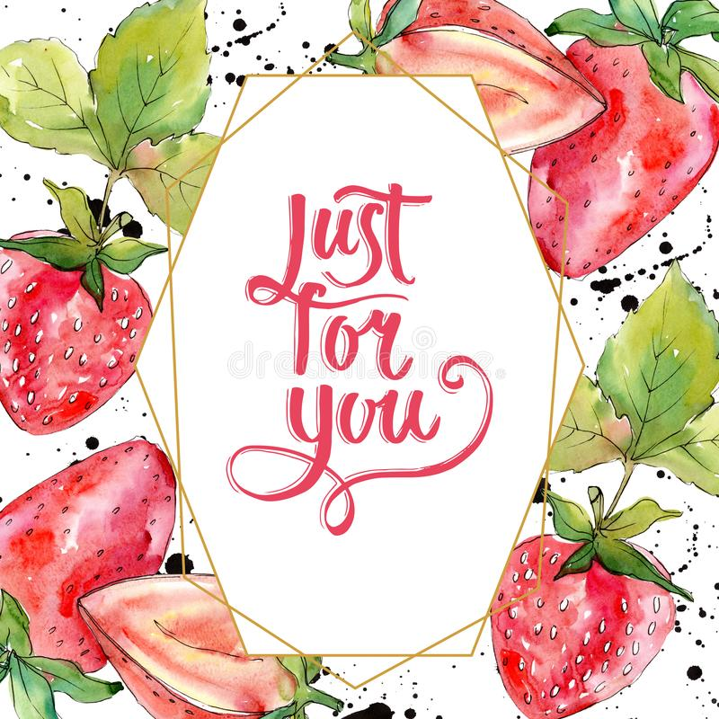 Strawberry healthy food fresh berry. Watercolor background illustration set. Frame border ornament square. Strawberry healthy food fresh berry. Watercolor royalty free stock photos