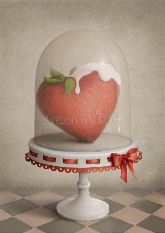 Strawberry heart. Background or an illustration for a poster created from different photos of my own resources