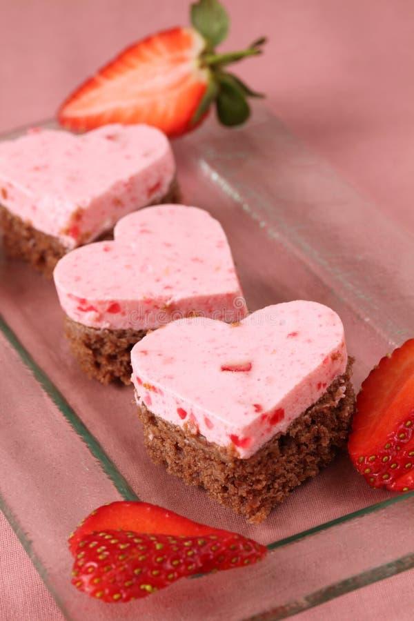 Strawberry heart cakes stock image