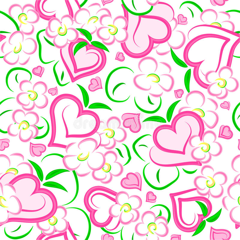 Strawberry hearts and flowers seamless texture vector illustration