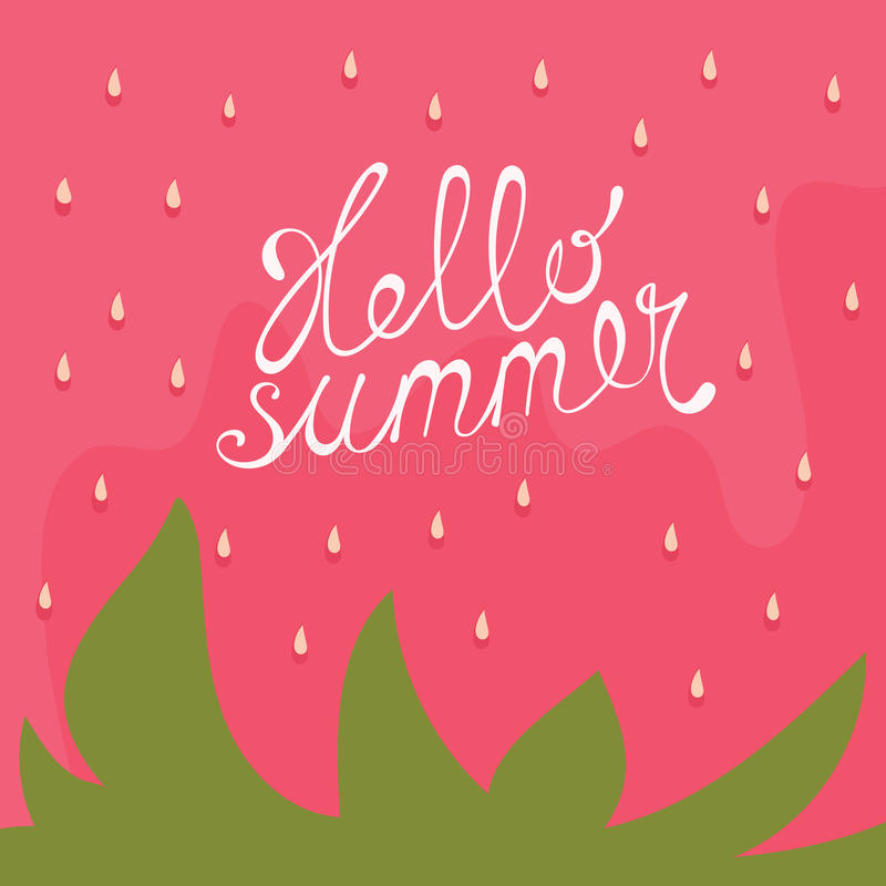 Download Strawberry Hello Summer Card Stock Vector   Illustration Of  Healthy, Seed: 71332587