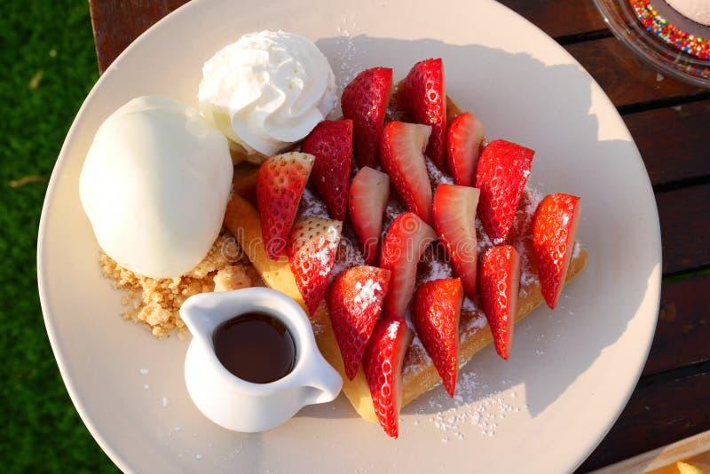 Strawberry Honey Toast with Ice cream stock photos