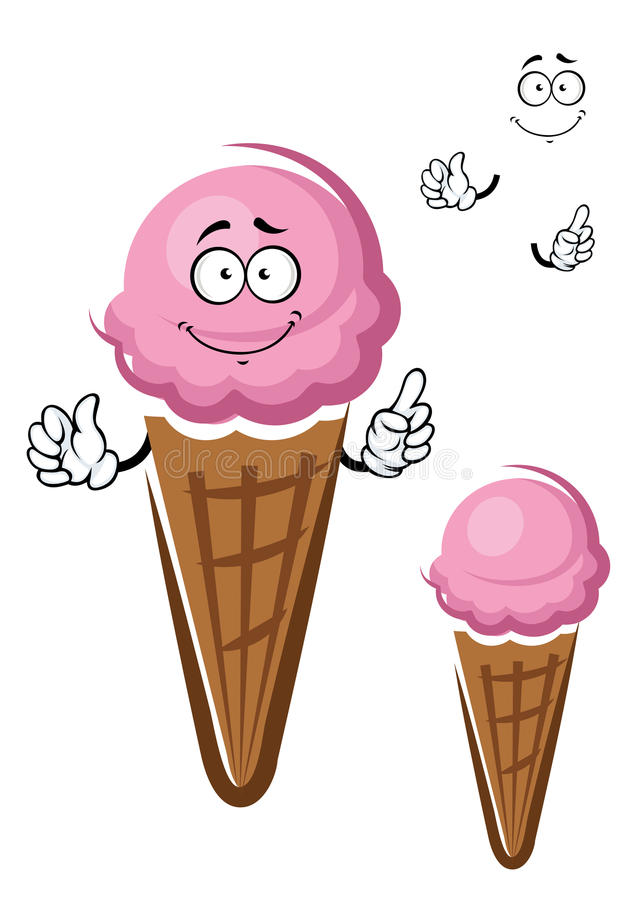 Strawberry ice cream cone cartoon character. Cartoon scoop of strawberry ice cream character in crunchy waffle cone show upward gesture isolated on white royalty free illustration