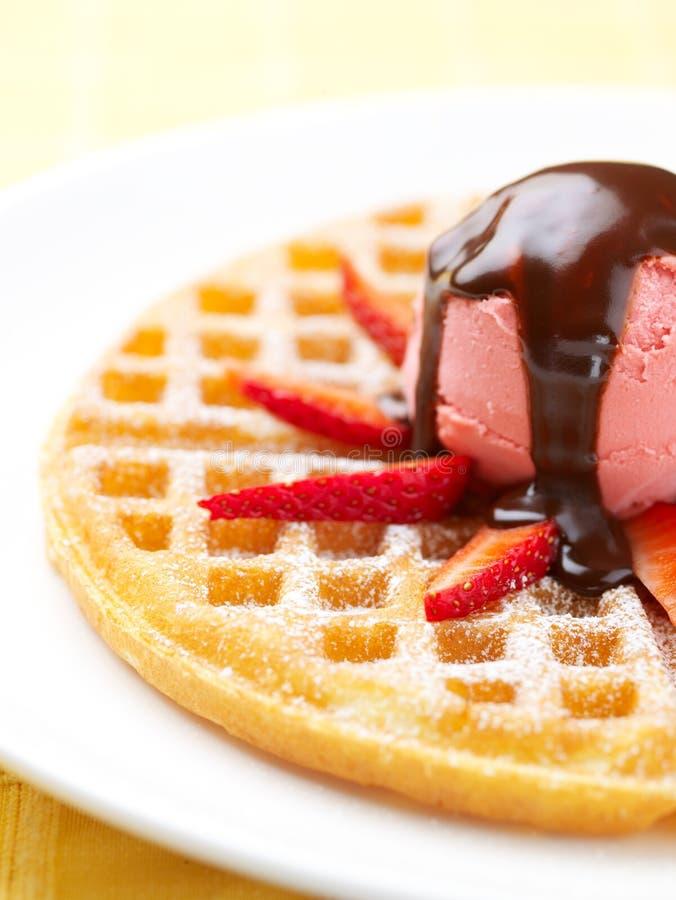 Strawberry Ice Cream Wafer stock photography