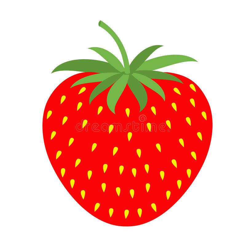 Strawberry icon. Healthy food lifestyle. Fruit collection. Educational card for kids. Flat design. White background. Isolated. royalty free illustration