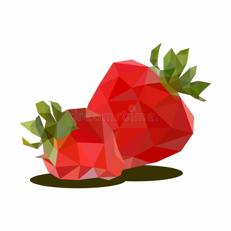 Strawberry, Illustration of Fruit. Polygonal Art. Can be Used for reference learning for students toddlers vector illustration
